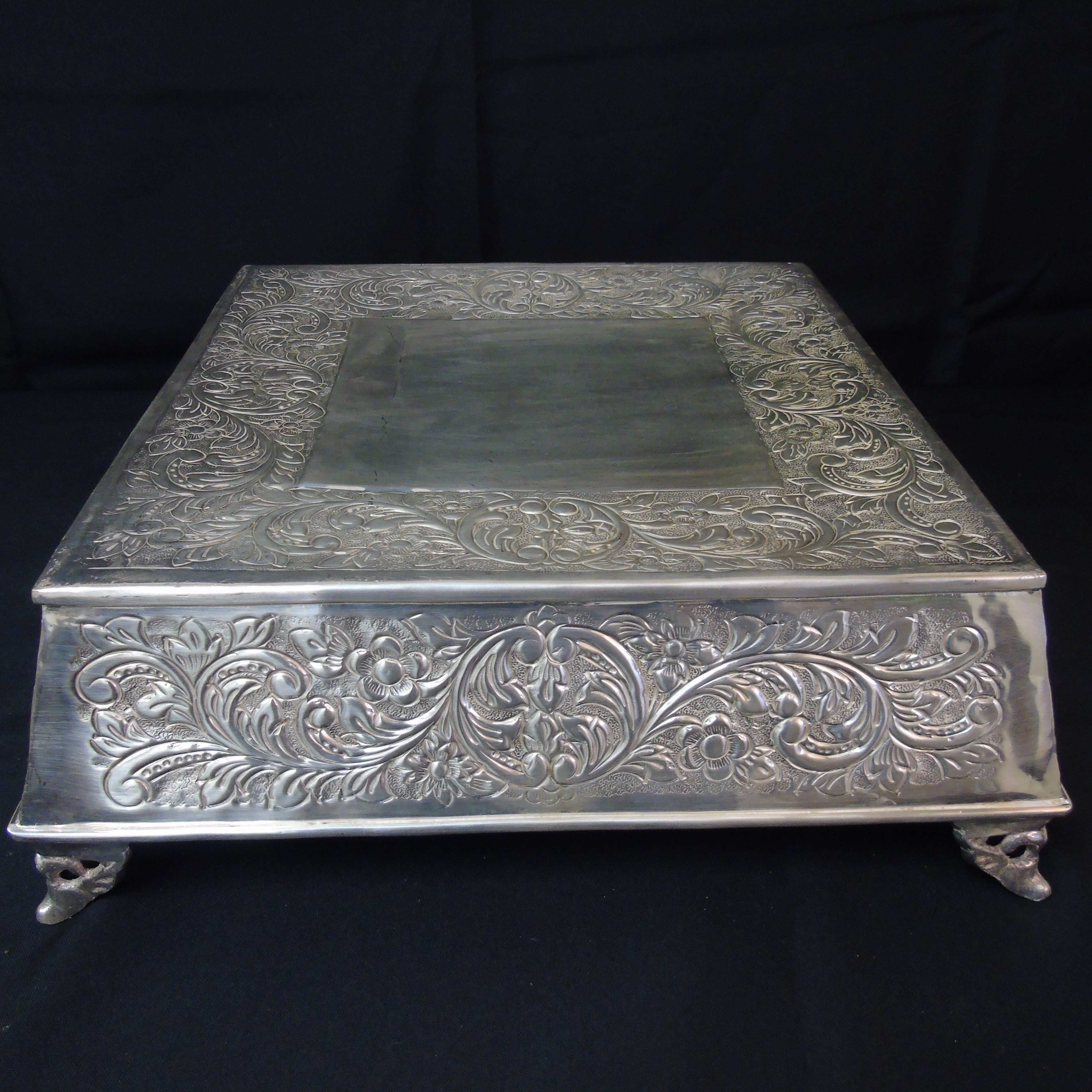 Square Silver Cake Stand American Party RentalAmerican